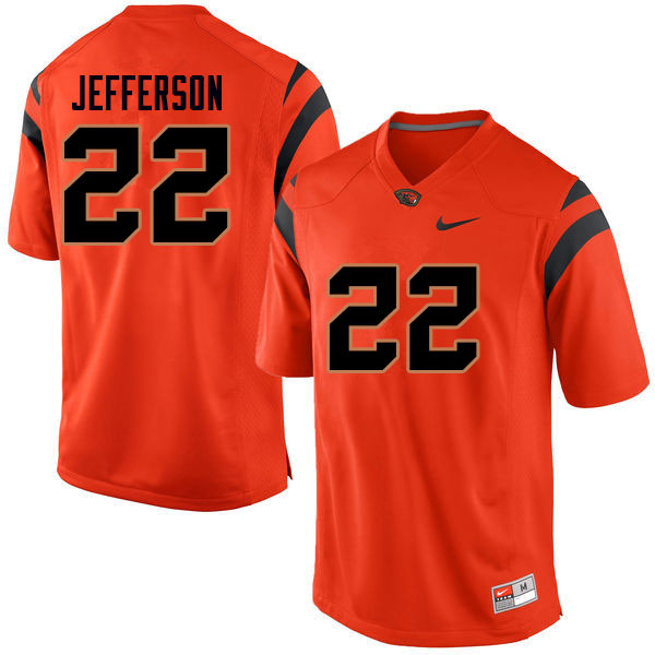 Men #22 Jermar Jefferson Oregon State Beavers College Football Jerseys Sale-Orange