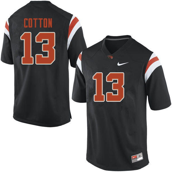 Men #13 TraJon Cotton Oregon State Beavers College Football Jerseys Sale-Black
