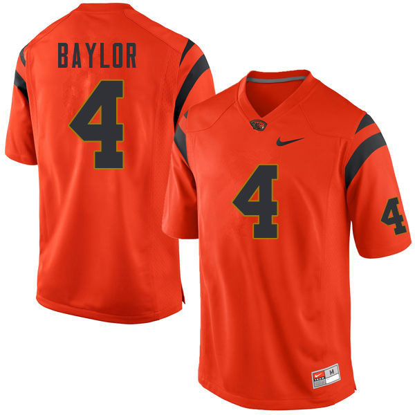 Men #4 B.J. Baylor Oregon State Beavers College Football Jerseys Sale-Orange