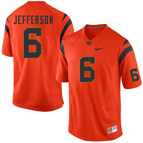 Men #6 Jermar Jefferson Oregon State Beavers College Football Jerseys Sale-Orange