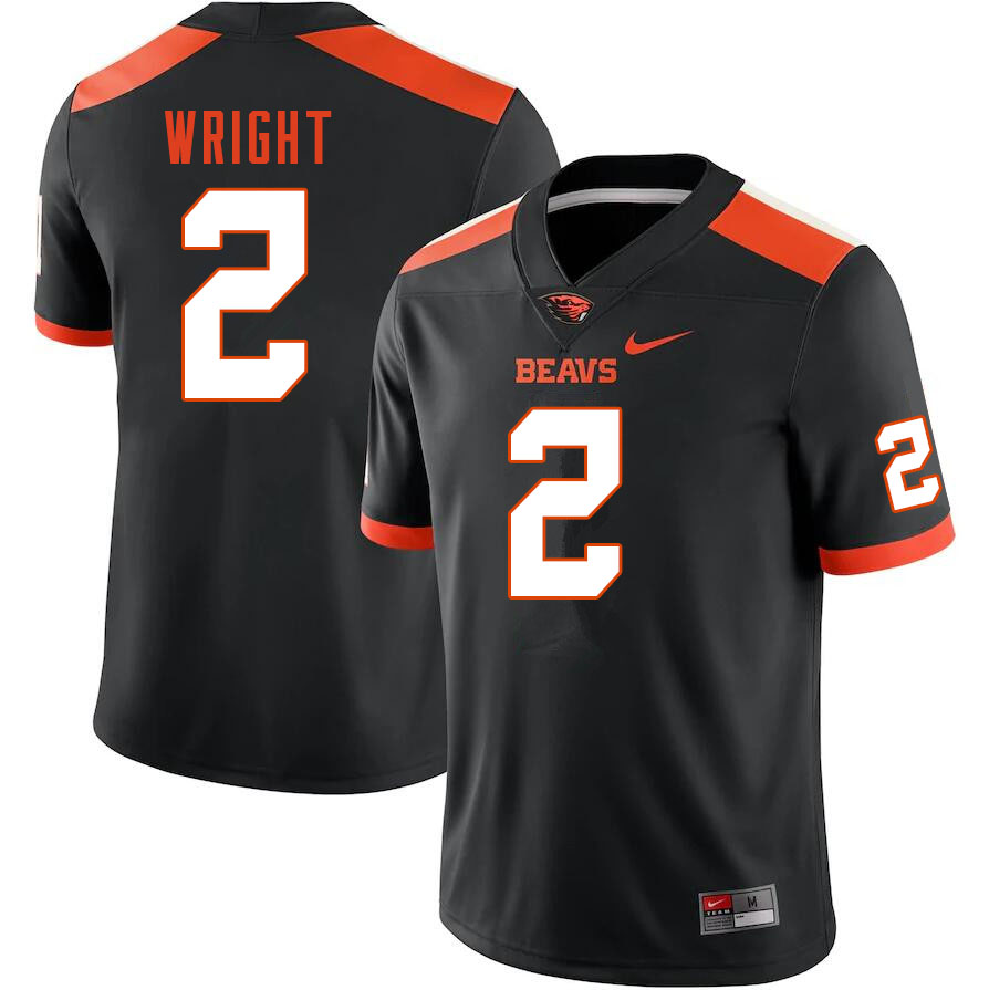 Men #2 Nahshon Wright Oregon State Beavers College Football Jerseys Sale-Black
