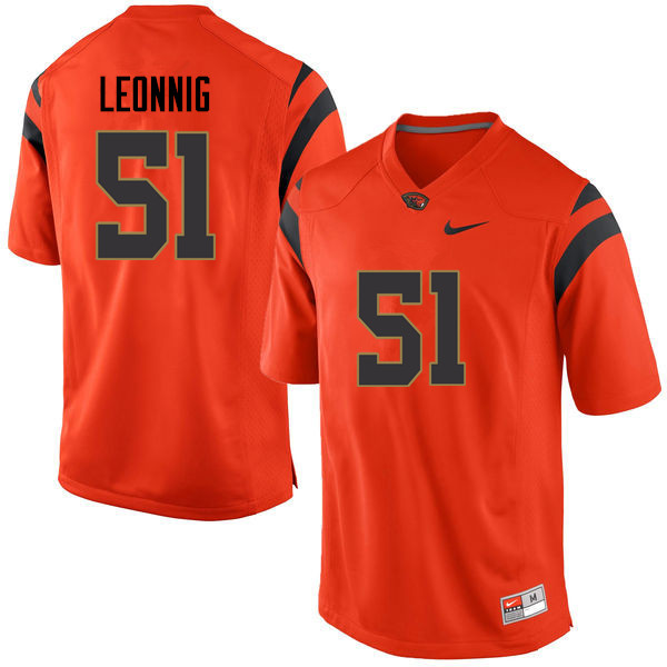 Men Oregon State Beavers #51 Luke Leonnig College Football Jerseys Sale-Orange