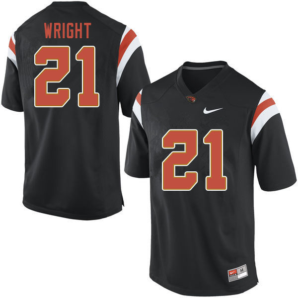 Men #21 Nahshon Wright Oregon State Beavers College Football Jerseys Sale-Black
