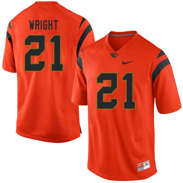 Men #21 Nahshon Wright Oregon State Beavers College Football Jerseys Sale-Orange