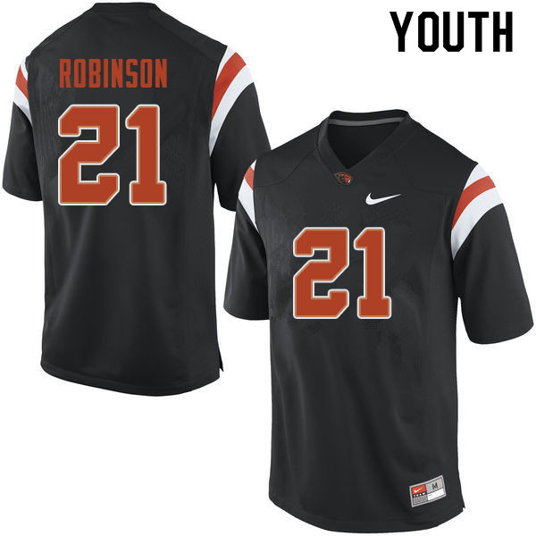 Youth #21 Jaden Robinson Oregon State Beavers College Football Jerseys Sale-Black