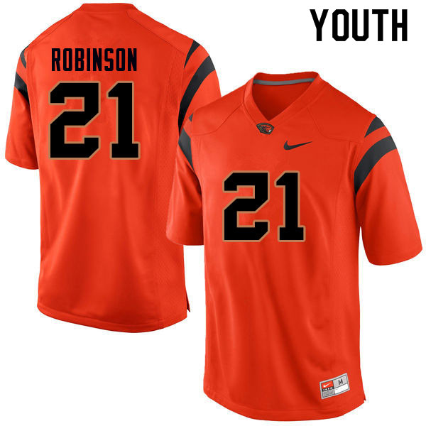 Youth #21 Jaden Robinson Oregon State Beavers College Football Jerseys Sale-Orange