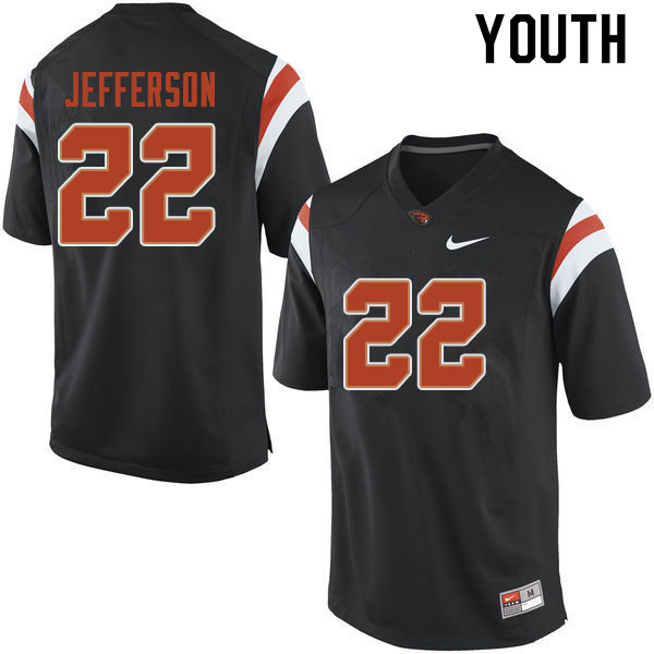 Youth #22 Jermar Jefferson Oregon State Beavers College Football Jerseys Sale-Black