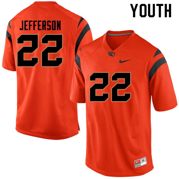Youth #22 Jermar Jefferson Oregon State Beavers College Football Jerseys Sale-Orange