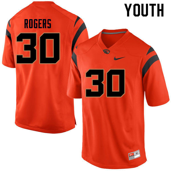 Youth #30 Kase Rogers Oregon State Beavers College Football Jerseys Sale-Orange