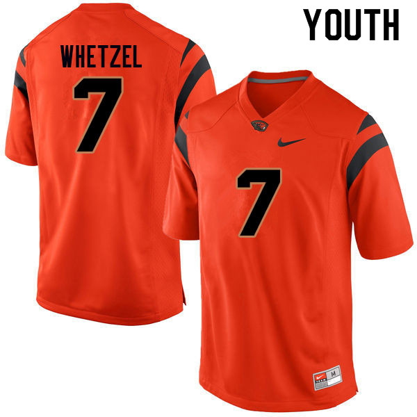 Youth #7 Kee Whetzel Oregon State Beavers College Football Jerseys Sale-Orange