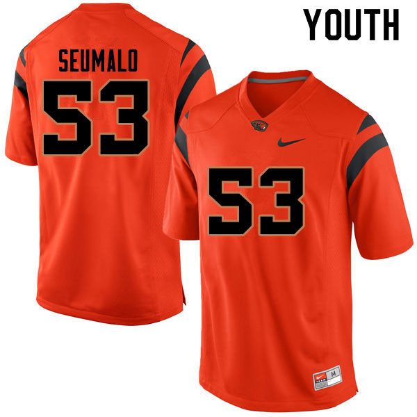 Youth #53 Noah Seumalo Oregon State Beavers College Football Jerseys Sale-Orange