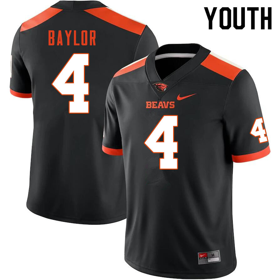 Youth #4 B.J. Baylor Oregon State Beavers College Football Jerseys Sale-Black