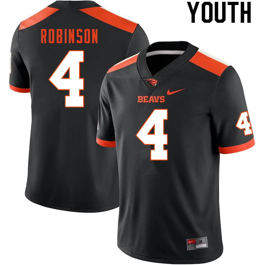 Youth #4 Jaden Robinson Oregon State Beavers College Football Jerseys Sale-Black