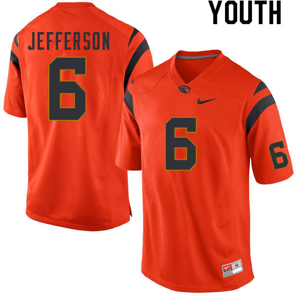 Youth #6 Jermar Jefferson Oregon State Beavers College Football Jerseys Sale-Orange