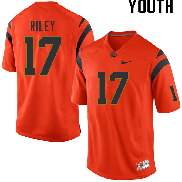 Youth #17 Johnathan Riley Oregon State Beavers College Football Jerseys Sale-Orange