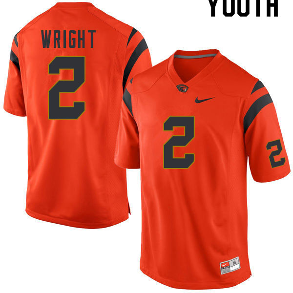Youth #2 Nahshon Wright Oregon State Beavers College Football Jerseys Sale-Orange