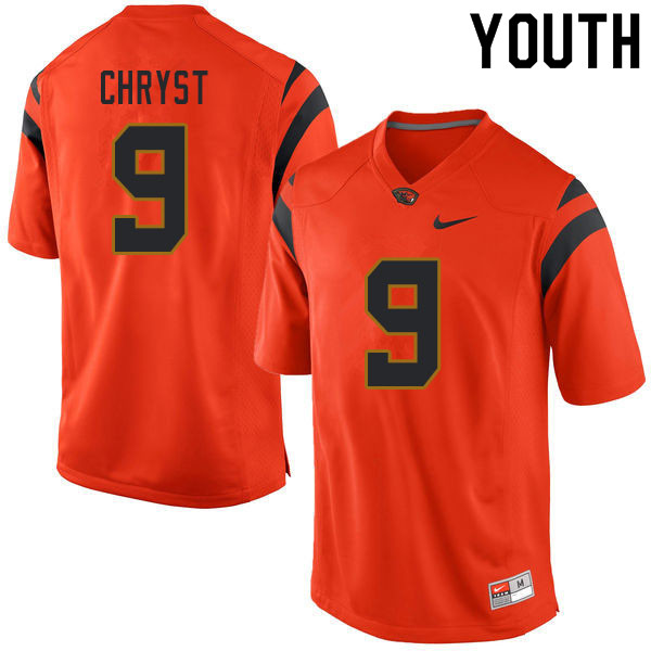 Youth #9 Jackson Chryst Oregon State Beavers College Football Jerseys Sale-Orange