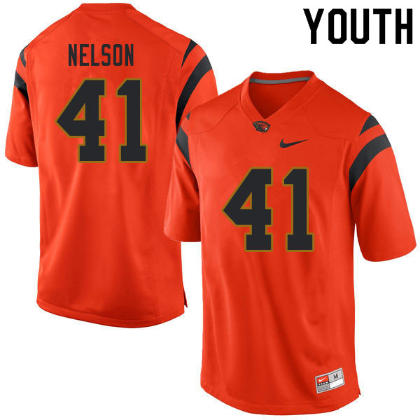 Youth #41 Jeffrey Nelson Oregon State Beavers College Football Jerseys Sale-Orange