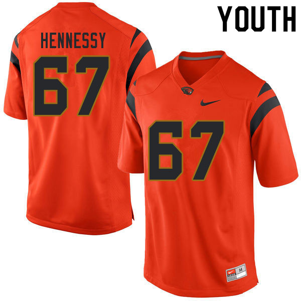 Youth #67 Kelsen Hennessy Oregon State Beavers College Football Jerseys Sale-Orange