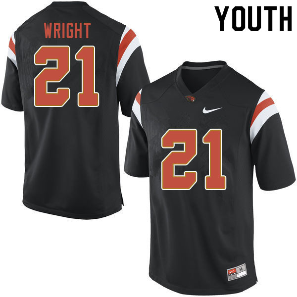 Youth #21 Nahshon Wright Oregon State Beavers College Football Jerseys Sale-Black