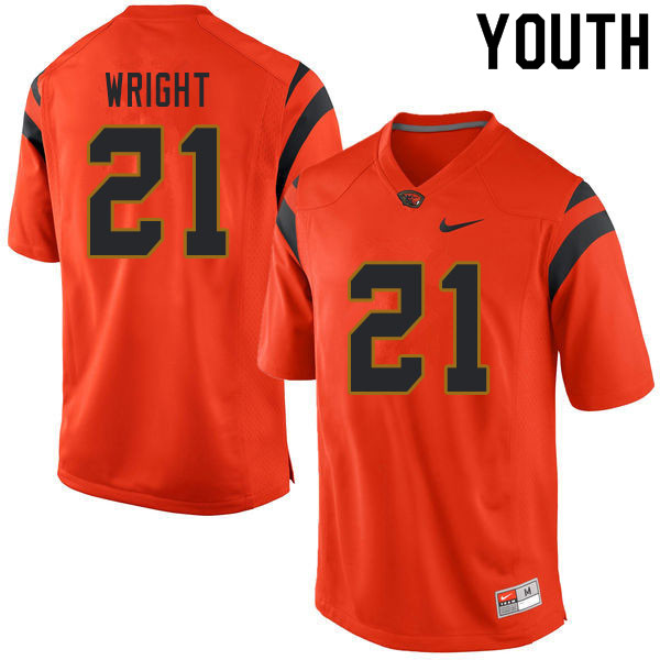 Youth #21 Nahshon Wright Oregon State Beavers College Football Jerseys Sale-Orange